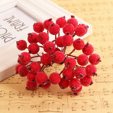 40pcs Mini Christmas Frosted Fruit Artificial Berry Table Centerpiece SK