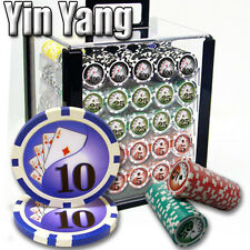 NEW 1000 PC Yin Yang 13.5 Gram Clay Poker Chips Set Acrylic Carrier Case Custom