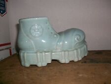 Retro Baby Blue Boot Shoe Planter Vintage Cameron Clay Art Pottery Unmarked