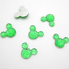 Hot 40pcs 14MM Resin Mouse Flat back Scrapbooking For DIY craft making Green X