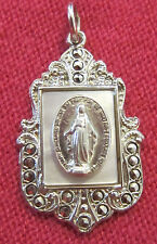 Vintage Catholic Religious Holy Medal - MOP MARCASITE STERLING - Miraculous L@@K
