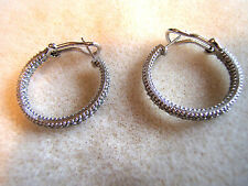 "Judith Ripka 925 Sterling Silver Inside Out Diamonique CZ Hoop 1"" Diam Earrings"