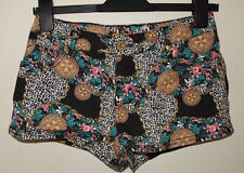 PRIMARK  FLORAL BAROQUE LEOPARD DENIM SUMMER SEXY HOT PANTS SHORTS 10 S