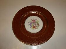Vintage Stetson China Dinner Plate, Red/ 22kt Gold Flower/Scroll-FLAWS