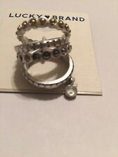 $35 Lucky Brand Pave And Moonstone Stack Ring Size 7 F11 117