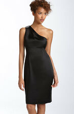 NWT CALVIN KLEIN Black One Shoulder Satin Cocktail Dress - Size US 6 (AU 10)
