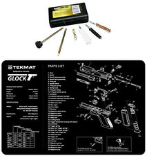 GLOCK TekMat Armorers Bench Mat  & UTG 9MM Pistol Cleaning Kit Combo Set NEW !