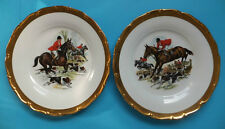 Vintage Hunting Scene Horse & Hounds Czechoslovakian Plates Gold edge 2 In Total