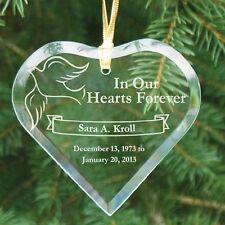 Personalized Memorial Christmas Ornament Engraved Heart Glass Memorial Ornament