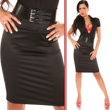 NEW SEXY LADIES BUSINESS PENCIL PARTY SKIRT + BELT BLACK SIZE S 8 - WORK/EVENING