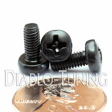 M3.5 x 8mm - Qty 10 - Phillips Pan Head Machine Screws - DIN 7985 A  Black Steel