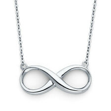 Classic Floating Infinity Pendant 14K Solid White Gold Necklace