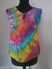 TIE DYE BEADED HIPPY BOHO KURTA BLOUSE TOP  TIEDYE FREESIZE SLEEVELESS  407e
