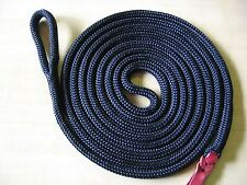 """12' x 1/2"""" BLACK D Braided Polyester Yacht Horse Lead Rope w Spliced Loop + Tail"""