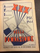XXX anno Associazione filatelica Italiana Roma elenco abbonati 1914/1944 cv5/08
