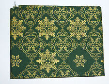 Fabric fat quarter with gold filigree  snowflakes  on dark Green
