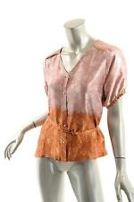 DRIES VAN NOTEN Pinks/Rusts Floral 100% Silk V-Neck B/D Blouse w/Sash - 40/US6