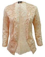 Womens Lace All Over Full Sleeve Open Front Blazer Cardi Slip On Lacey Jacket