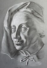 Schmirler Kreidezeichnung Porträt einer Frau um 1930 Studienarbeit Loket xz