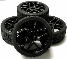 180083 1/8 Scale On Road Buggy RC 10 Spoke Wheels and Tyres Black x 4
