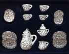 15pcs Dollhouse Miniature Porcelain Tea Set Dish Cup Saucer daisy flower 1/12