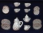 15pcs Dollhouse Miniature Porcelain Tea Set Dish Cup Saucer daisy flower 1/12