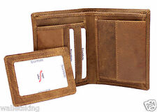 Mens Designer High Quality Brown Distressed Hunter Vintage Leather Wallet 1090