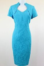 Big10 Collection Fitted Blue Sheath Dress with Textured Fabric - size 8