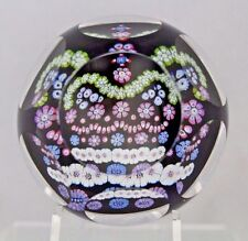 Beautiful WHITEFRIARS Multifaceted MILLEFIORI CROWN  Glass PAPERWEIGHT Box COA