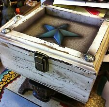 Gorgeous White Wooden Box with BLUE STAR. Vintage Look Home Decor.