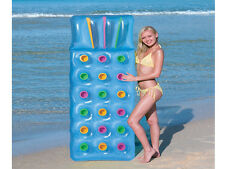 """BLUE 18 PKT INFLATABLE BEACH SWIMMING POOL LOUNGER LILO AIR BED RELAX 74""""X28"""""""
