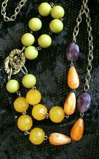 Vintage Long bead Necklace Chunky green yellow orange Goldtone jewelry statement