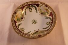 NORITAKE FOOTED HAND PAINTED BOWL LANDSCAPES GOLD GILDING 1908c VINTAGE & RARE