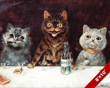 TOMCAT BACHELOR PARTY CATS DRINKING LOUIS WAIN PAINTING TOM CAT ART CANVAS PRINT