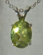 "Natural AZ Peridot 8x6mm Oval Gemstone .925 Sterling Silver Pendant 18"" Necklace"