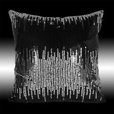 """2X SILVER BLACK SEQUIN CUSHION COVERS PILLOW CASES 16"""""""