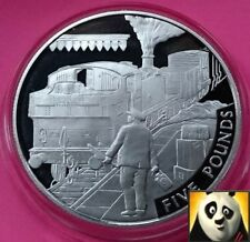 2004 ALDERNEY £5 Five Pound Steam Age The Branch Line Silver Proof Coin