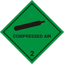 WARNING SIGN COMPRESSED AIR SELF ADHESIVE 100MM X 100MM
