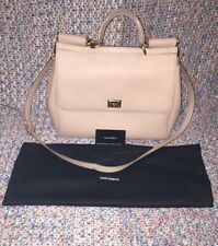 Gorgeous Nude Dolce&Gabbana Miss Sicily Large Leather Bag w Dust Bag & Auth Card