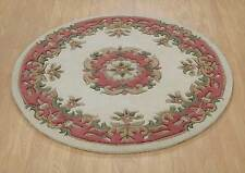 Indian Aubusson Ivory Pink Wool Traditional Round Rugs Chinese 4' Diameter