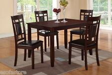 Kitchen Dining 5 Piece Set Wood Breakfast Furniture Table and 4 Chairs