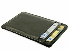 Slim black real leather credit card oyster holder mini small thin wallet ID case