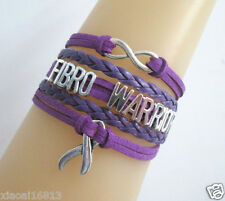 Infinity FIBRO WARRIOR Cancer Ribbon Charms Suede Leather Braided Bracelet