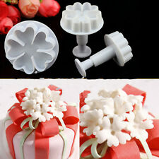 3PCS 5-Heart Flower Plunger Cookie Cutters Fondant Cake Decorating Tool Mould V