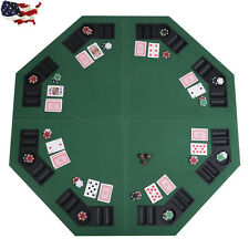 """48"""" Octagon 8 Player Four Fold Folding Poker Table Top & Carrying Case Green New"""