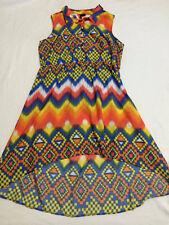Apollo 3X Southwest Native Hi Lo Peek A Boo Back Bright Dress Plus Size Colorful