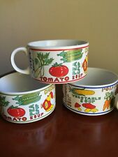 Set Of Four Large Vintage Soup Mugs - Made In Korea - Vegetable Theme