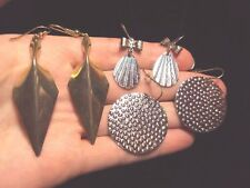 triangle + teardrop textured bow + animal print dangle silver earrings 3 pairs