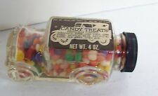 Vintage Glass Candy Container - Old Time Car w/ Candy