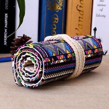 Canvas Pen Roll Up Bag Curtain 36 Holes Pencil Case Stationery Ball Pens Boxs